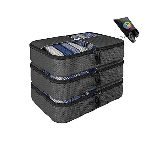 Organizer per valigia UNA SETTIMANA DI SALDI - Set da 4 pezzi - 3 medio + Inclusa borsa riponi-scarpe in omaggio - Garanzia a vita - By Bingonia (Grigio)