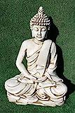 DEGARDEN AnaParra Estatua Buda delAmor Decorativa para Jardín o Exterior Hecho de hormigón-Piedra Artificial | Figura Buda Grande de 73cm, Color Ceniza