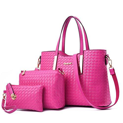 Set Borse Donna, Sunroyal 3 pezzi Borse a Mano+Piccola Borse a Tracolla+Portafoglio, modo dell'unità di elaborazione della borsa del cuoio + Shoulder Bag + Purse 3pcs Bag (rosa rossa)