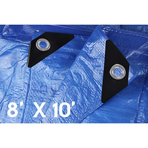 Hanjet Lightweight Outdoor Tarp 8 x 10 5 Mil Multi-purpose Waterproof Reinforced Rip-Stop Tarps with Grommets Blue