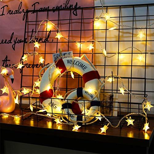 Hihey kerstverlichting met ledbol, 30 sterren, lichtsnoer, sterrengordijn, binnen- en buitenverlichting, waterdicht, decoratie voor Kerstmis 20LED/3M Warme kleur.