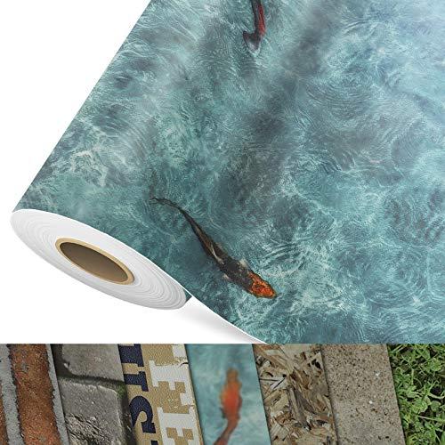 CV Bodenbelag Koi - extra abriebfester PVC Bodenbelag (geschäumt) - Foto-Druck Koi Karpfen - Oberfläche strukturiert - Meterware (200x300 cm)