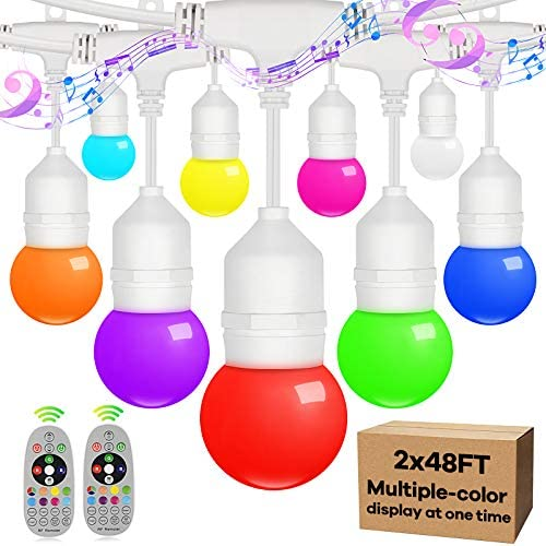 2 Packs 48FT Multi Color LED Outdoor String Lights Sync to Music Dimmable Patio Lights with product image