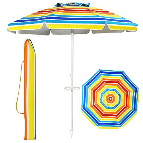 Goplus Ombrellone da Spiaggia con 8 Stecche, ombrellone da Mare con palo in Ferro e Lega di Zinco da 2,2 m, con Borsa di Trasporto (Colori dell'arcobaleno)
