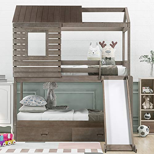 House Bunk Beds, Wood Bunk Beds with Roof and Guardrail for Kids, No Box Spring Needed (Antique Grey (Slide), Twin Over Twin)