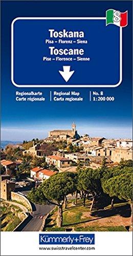 Toskana Regionalkarte Italien Nr. 8: 1:200 000,Pisa-Florenz-Siena (Kümmerly+Frey Reisekarten)