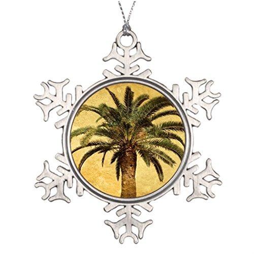 Cukudy kerstbomen versierde vintage palmboom - tropische aangepaste sjabloon fotolijst sneeuwvlok ornamenten vintage