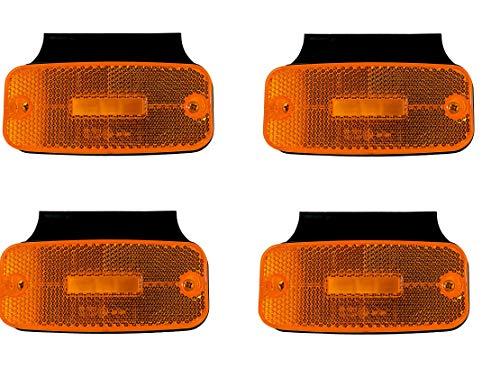 4x 12/24V LED Umrissleuchten Begrenzungsleuchten mit Halterung E9 Prüfezeichen Orange Positionsleuchten LKW Anhänger Träger Wohnwagen
