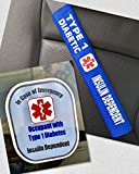 Type 1 Diabetic Medical Alert Belt Cover and Window Decal Set (Royal Blue)
