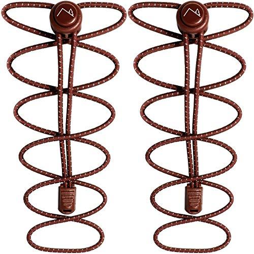 CampTeck U7195 Schnürsenkel mit Schnellverschluss, Elastische Schnürsenkel mit Schnellschnürsystem - Braun - 1 Paar