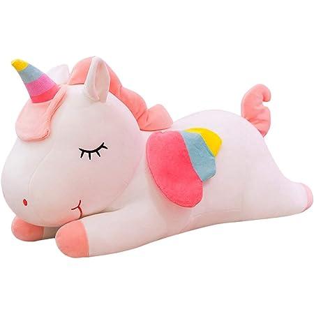 Garneck Almohada de Peluche de Unicornio Arcoiris Almohada de Peluche Lindo Cojín para Niños Niñas (Blanco 40Cm)