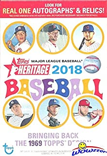 2018 Topps Heritage MLB Baseball EXCLUSIVE Factory Sealed Hanger Box with 35 Cards! Look for Real One Autographs, Inserts, Parallels, Relics & More! Look for SHOHEI OTHANI Rookie's & Autograph's!