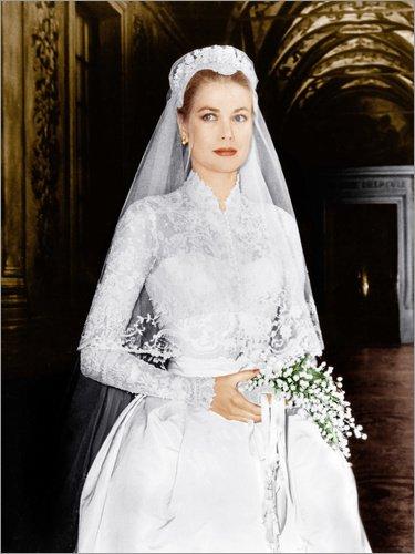 Posterlounge Leinwandbild 100 x 130 cm: Die Hochzeit in Monaco, Grace Kelly von Everett Collection - fertiges Wandbild, Bild auf Keilrahmen, Fertigbild auf echter Leinwand, Leinwanddruck