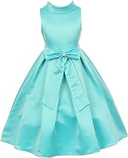 3e40e9b4d Cinderella Couture Big Girls Aqua Bridal Dull Satin Bow Rhinestone Flower  Christmas Dress 8-12