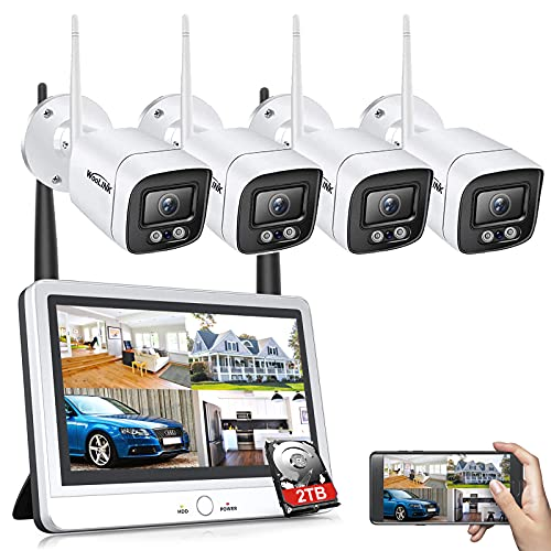 [8CH Expandable] All in one with 11.6 inch Monitor Wireless Security Camera System,4pcs 2MP Indoor/Outdoor Wireless WiFi Home Security Camera System, Remote Access, Motion Detection Alert, 2TB HDD