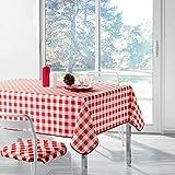Douceur d'Intérieur Vichy Nappe Rectangle Imprimé, Polyester, Rouge, 300 x 150 cm