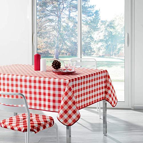 Douceur d 'Intérieur Vichy tafelkleed, rechthoekig, bedrukt, polyester, rood, 300 x 150 cm