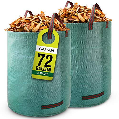 Garnen 72 Gallon Garden Waste Bags (2 Pack), Heavy Duty Reusable / Collapsible Leaf Basket Bags with 4 Reinforced Handles for Lawn Yard Pool Plant Trash Trimming Gardening Containers