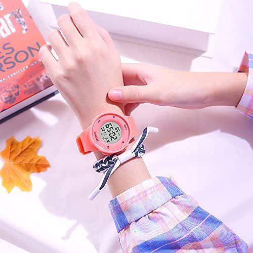 Reloj Niña,Reloj electrónico Masculino High School Students Simple Tendencia Mujer Mujer NATIVA A Prueba de Agua Reloj de Alarma multifunción multifunción-Naranja