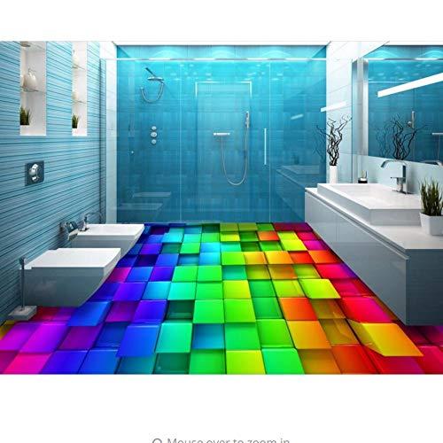 Rureng 3D Pvc-Bodenbelag Benutzerdefinierte 3D Boden Foto Bunte Quadrate Selbstklebende 3D Pvc-Bodenbelag Wasserdicht-150X120Cm