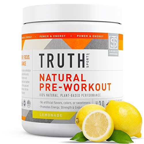 Natural PreWorkout Powder- Preworkout for Men & Women - Plant Based, Keto & Vegan Friendly - Energy, Focus & Endurance - Truth Nutrition (30 Servings) (Lemonade))