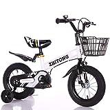 Triciclo Bebé Trike Bicicleta para Niños Bicicletas Estaticas BH con Estructura de Acero de Alto Carbono, Adáptese a Topes de Velocidad, Caminos de Grava,White,16'