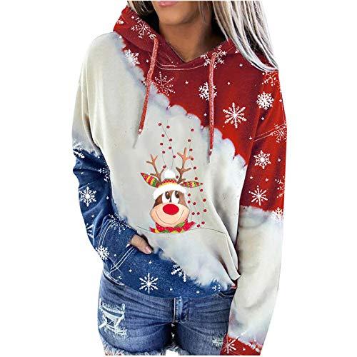 Lozeny Women Christmas Snowman Sweatshirts Hoodies Colorblock Drawstring Hooded Sweaters Long Sleeve Pullover Shirts Tops Yellow
