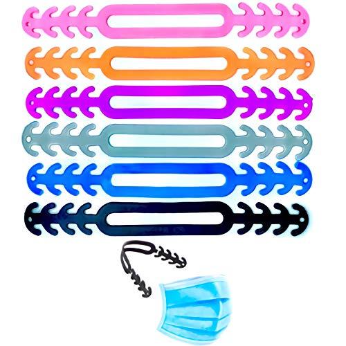 6 Salvaorejas para Mascarillas de Silicona Extensores para mascarillas Pack 6 Piezas de Colores Protector Orejas y Enganches para Mascarillas, de Silicona Flexible y Comodo de Usar