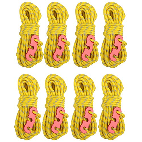 Azarxis 4 Pack Guy Ropes, 3mm Reflective Guy Line, High-Strength Lightweight 4m Tent Guyline Rope with Aluminum Rope Tensioner Ideal for Camping, Awning Tents, Hiking, Outdoor (Yellow - 8 Pack)