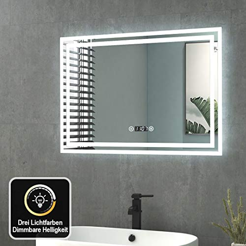Badspiegel mit Beleuchtung 70x50cm Wandspiegel Badezimmerspiegel mit Touchschalter + Beschlagfrei + Uhr + 3 Lichtfarbe Dimmbar LED Lichtspiegel IP44 Energiesparend Energieklasse A++