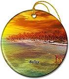 Colgante del árbol de la Belize Belize City de 2,8 pulgadas de cerámica redonda para las vacaciones Pandent para amigos de familia