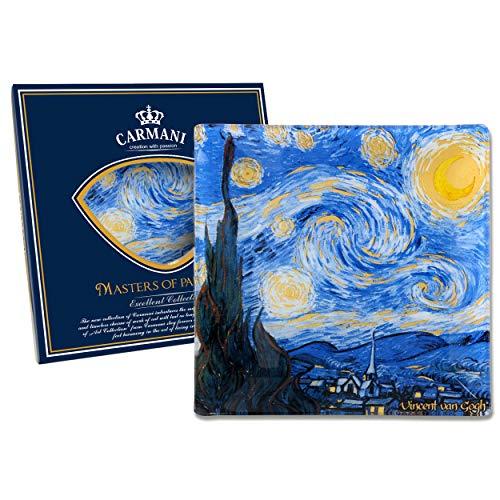 Carmani - Piatto di vetro quadrato, Stampa artistica di Vincent van Gogh 'STELLATO NOTTE' 13x13cm