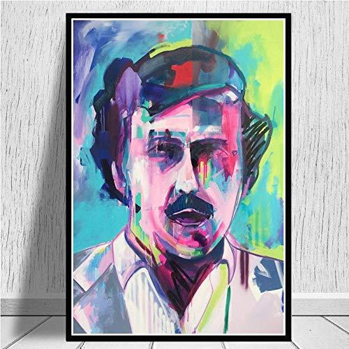wtnhz Kein Rahmen Pablo Escobar Charakter Legende Retro Vintage Poster und Drucke Malerei Wandkunst Leinwand Wandbilder für Wohnzimmer Home Decor 50x60cm