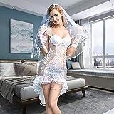 Gdofkh Lencería Sexy ángulo de Novia Sexy Vestido de Novia de Encaje Blanco Malla Perspectiva pasión diversión Uniforme Traje