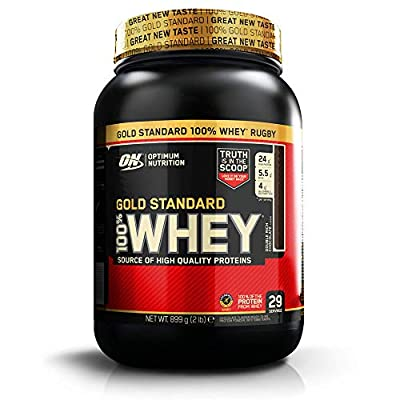 Optimum Nutrition ON Gold Standard Whey Protein Powder Muscle Building Supplements with Glutamine and Amino Acids, Double Rich Chocolate, 29 Servings, 900 g