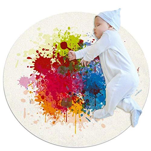 Wetia Aquarell ist bunt und weiß Runder Teppich für Kinder rutschfeste Außenteppiche, superweich für Wohnzimmer, Kinderzimmer, Babyzimmer, Balkon, Kreis 100x100cm