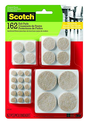 Scotch Brand Felt Pads, Great for protecting floors, Protectors, Round, Beige, Assorted Sizes, 162 Pads/Pack