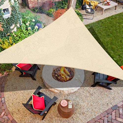 "iCOVER Sun Shade Sail 9'10"" x 9'10"" x 9'10"" Triangle Canopy, 185GSM Fabric Permeable Pergolas Top Cover, for Outdoor Patio Lawn Garden Backyard Awning, Beige"