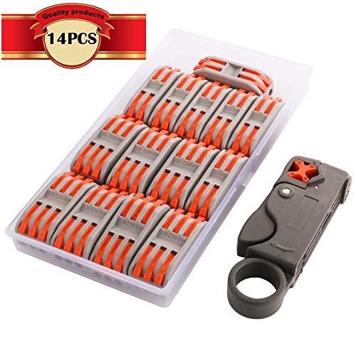 KINYOOO® Lever-Nut Surtidas Conector, Bloque de Terminales de Barra de Presión Bilateral, Conductores de Surtido Conectores de Cable Compacto (SPL-2/7 Pcs, SPL-3/7 Pcs)