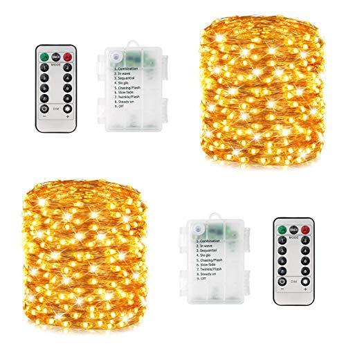 LED Lichterkette Batterie, 2er 12M 120 LEDs Lichterkette Außen/ Innen, 8 Modi, Wasserdicht, Warmweiße Lichterketten mit Fernbedienung als Deko für Zimmer Garten Party Balkon