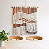 BABYCOW Tapiz Bohemio de algodón para Colgar en la Pared, Tejido Grande, de macramé, decoración Elegante, naranja-80X100cm