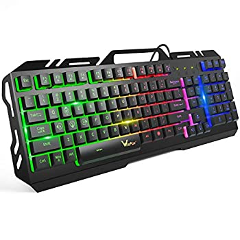 Gaming Keyboard WisFox Colorful Rainbow LED Backlit Wired Computer Gaming Keyboard with 104 Keys USB Wired Keyboard and Spill-Resistant for Windows PC Gamers Desktop PS4