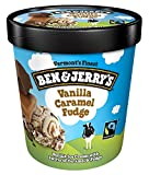 Ben & Jerry's - Vermont's Finest Ice Cream, Non-GMO - Fairtrade - Cage-Free Eggs - Caring Dairy - Responsibly Sourced Packaging, Vanilla Caramel Fudge, Pint (8 Count)