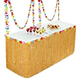 Fullsexy YHmall Falda de Mesa Hawaiian Grass para Decoraciones de Fiesta Falda Tropical de Mesa para Fiesta Tropical en Playa,Jardín