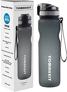 TOMAKEIT Sport Water Bottle 1 Litre 32 Oz, BPA Free Tritan Material, Wide Mouth & Secure Locking Lid for Hiking/Cycling/Running/Outdoor and Office
