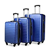 Luggage Sets Spinner Hard Shell Suitcase Lightweight Luggage - 3 Piece (20' 24' 28') - Galaxy (Blue)