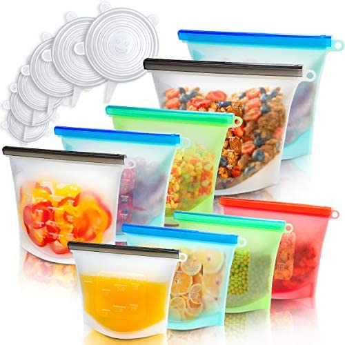 Reusable Food Bags 9 Pack Silicone Stretch Lids 6 Pack Airtight Seal Food Storage Wrap Zip Top product image