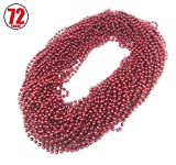 72 Pieces 33 inch 07mm Metallic Red Color Mardi Gras Beads Beaded Necklace Ideal for New Years Eve, Anniversary Party, Party Favors, and Table Centerpiece Decorations