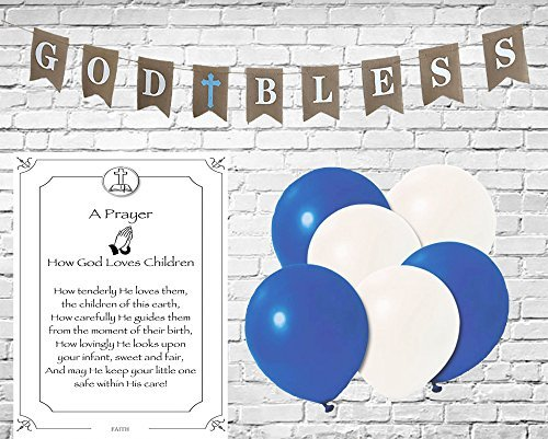 God Bless Burlap Banner for Boy First Holy Communion, Christening, Baptism Banner, Catholic Decorations - 8X6 Banner | All White letters with Blue Cross includes 3 White and 3 Blue Balloons & Strings