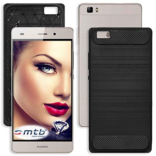 mtb more energy® Schutz-Hülle Carbon für Huawei P8 Lite (5.0'') - Schwarz - flexibel - TPU Hülle Cover Tasche
